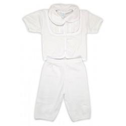 Крестильный набор для мальчика летний (кофточка, штанишки)