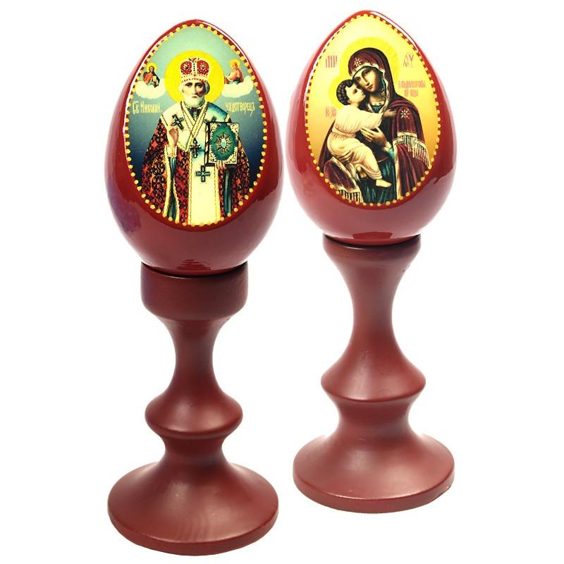 Яйцо Пасхальное дерево с иконой на подставке (сувенир)