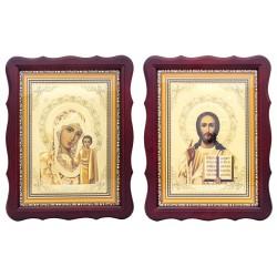 Пара икон Божья Матерь Казанская и Спаситель