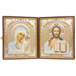 Складень двойной: Спаситель и Божья Матерь Казанская