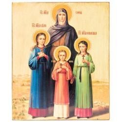 Икона Святых мучениц Веры, Надежды, Любови и матери их Софии (15х18)