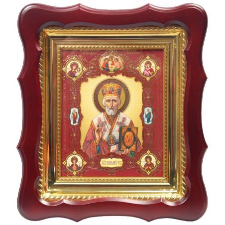 Киот (24х27) под икону (15х18), фигурный, деревянный, узорный подрамник