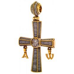 Крест «СПАС НЕРУКОТВОРНЫЙ» с подвесками «АЛЬФА» И «ОМЕГА» КС122