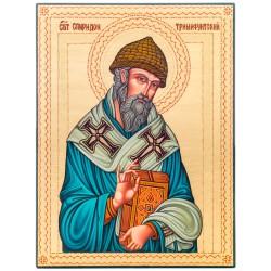 Писаная икона на дереве Святой Спиридон Тримифунтский 23х30 см