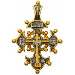 Крест с кринообразными концами и двенадцатью шариками на них КС005