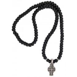 Нательный крест с «Ангелом Хранителем» оплетенный в четки на 100 узлов 60 см