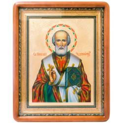 Писаная икона в киоте Святой Николай Чудотворец 42х51 см