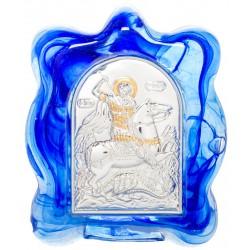 Икона в муранском стекле Святой Георгий Победоносец 6х8 см (Греция)