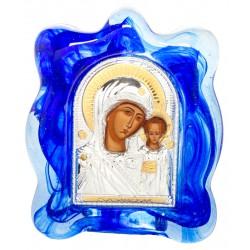 Икона в муранском стекле Божией Матери «Казанская» 6х8 см (Греция)