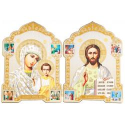 Двойной складень икона Спаситель и Божией Матери «Казанская» 13х18 см