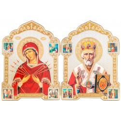 Двойной складень икона Божией Матери «Семистрельная» и Святой Николай Чудотворец 13х18 см