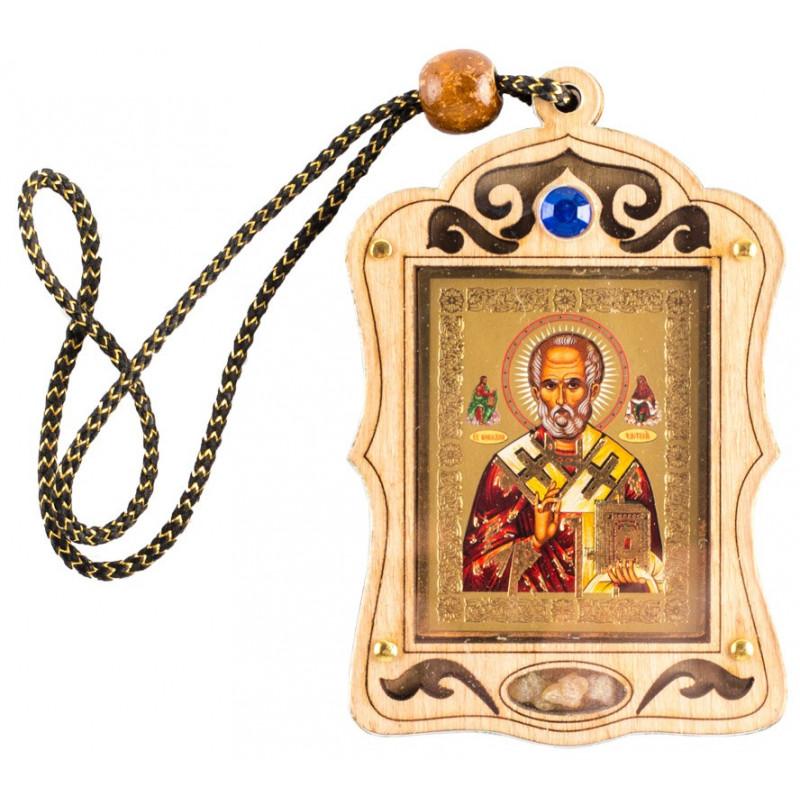 Икона для автомобиля Святой Николай Чудотворец, с ладаном, 5х7 см