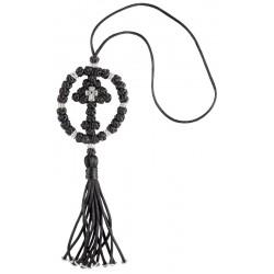 Крест плетеный для автомобиля с китичкой