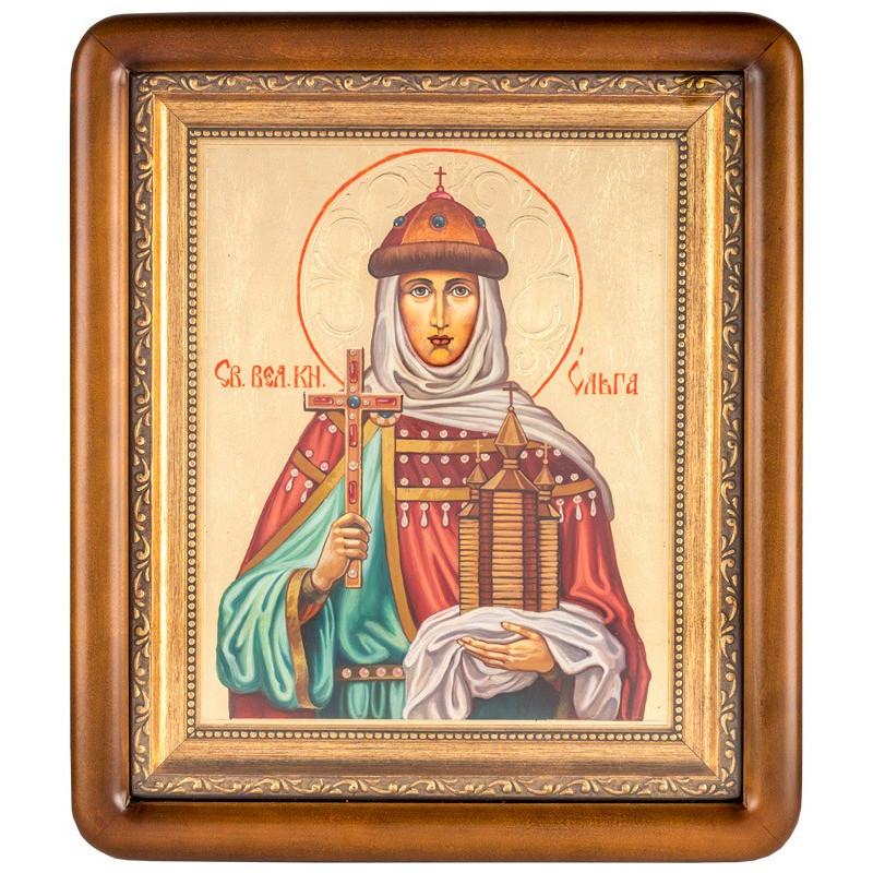 Писаная икона в киоте Святая Ольга 29х35 см