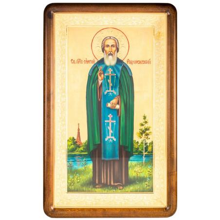 Писаная икона в киоте Святой Сергий Радонежский 30х49 см