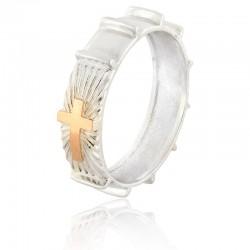 Серебряное кольцо-четки с крестом