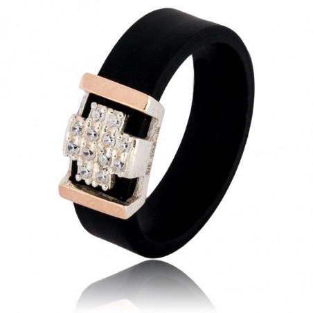 Каучуковое кольцо с серебряной накладкой