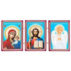 Тройной складень: Спаситель, Божья Матерь Казанская, Ангел Хранитель