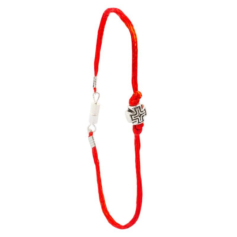 Шелковый браслет с металлическим крестом