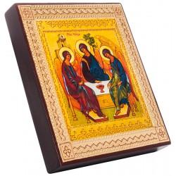 Икона на дереве Святая Троица (Рублева) 15х18 см