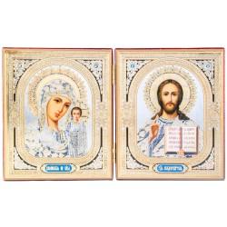 Двойной складень с иконами Спаситель и Божьей Матери «Казанская» 10х12 см