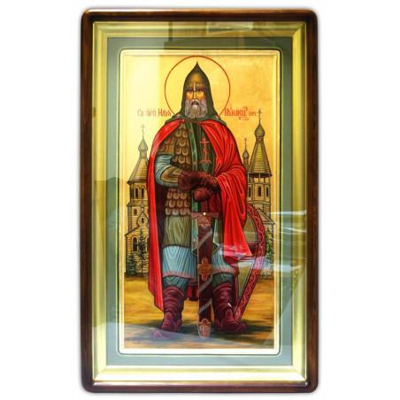 Икона Святой Илья Муромец,ростовая, письмо, сусальное золото, ковчег, в киоте