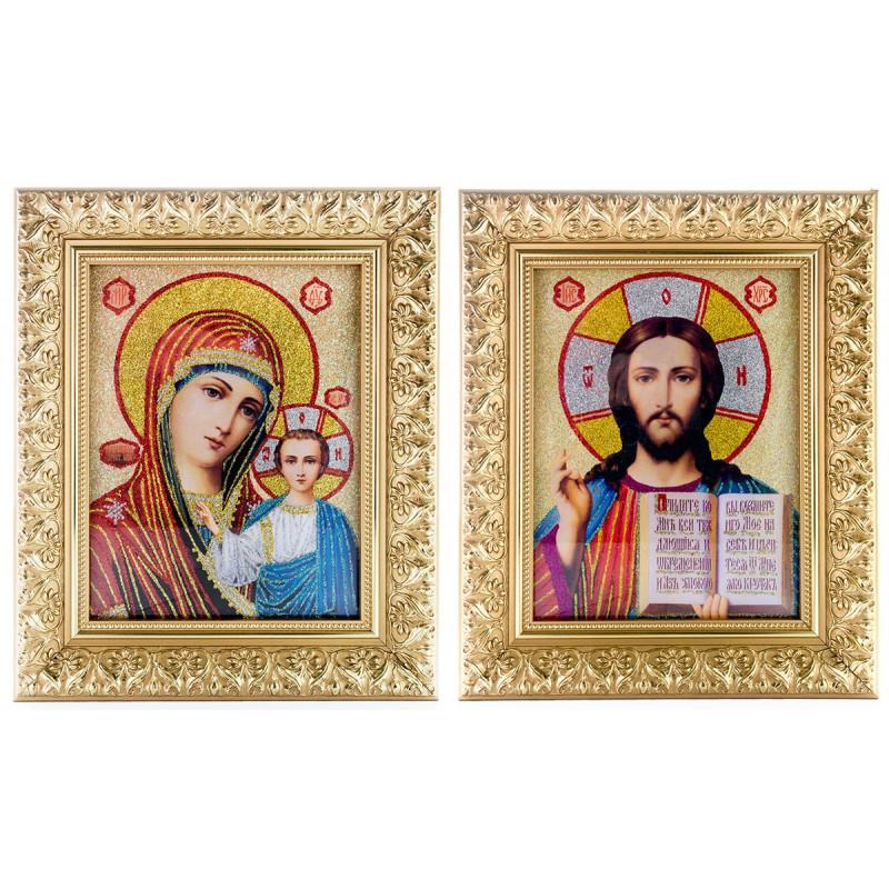 Пара икон Божья Матерь и Спаситель (16837)