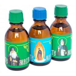 Набор масел от лампадки иконы Пресвятой Богородицы Почаевская, святого Иова Почаевского, святого Амфилохия Почаевского.