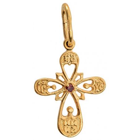 Нательный серебряный крест с позолотой 40620п
