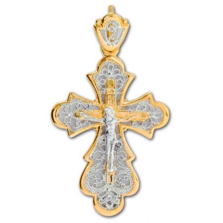 Нательный серебряный крест с позолотой 40500п