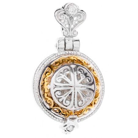 Ладанка-ароматница круглая серебряная Божья Матерь «Казанская»