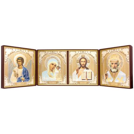 Складень на 4 иконы: Спаситель, Божья Матерь Казанская, Николай Чудотворец, Ангел Хранитель
