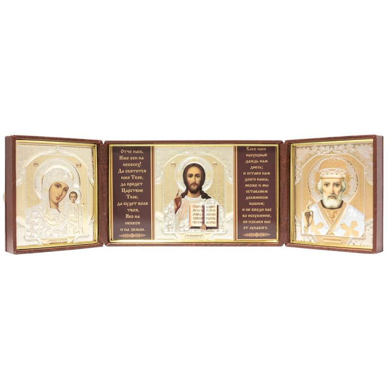 Складень на 3 иконы: Спаситель, Божья Матерь Казанская, Николай Чудотворец