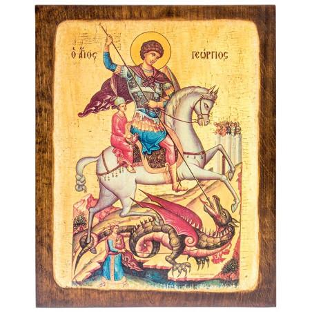 Икона на доске Святой Георгий Победоносец 24х30 см