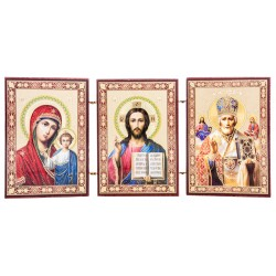 Тройной складень иконостас: Спаситель, Божья Матерь Казанская, Святой Николай Чудотворец
