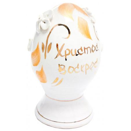"""Керамический сувенир """"Яйцо белое с росписью"""""""