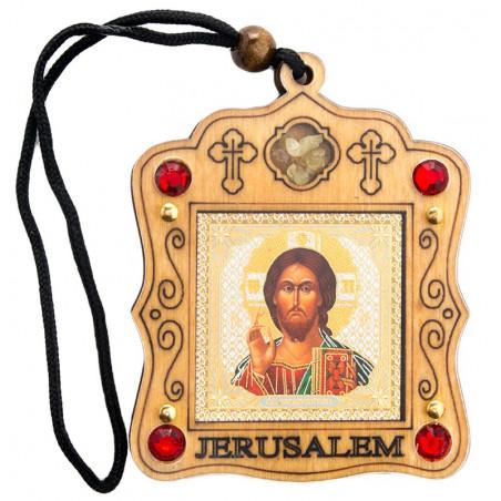 """Автомобильная подвеска """"Иерусалим"""" с иконой и ладаном"""