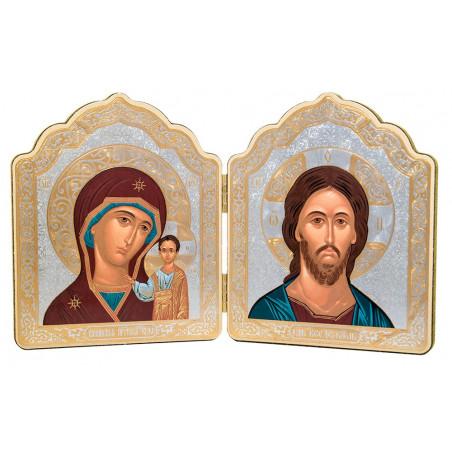 Двойной складень Спаситель и Божия Матерь «Казанская»