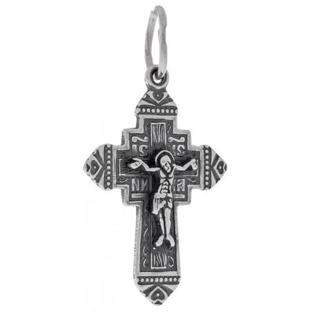 Нательный серебряный крест с Богородицей 101-086ак