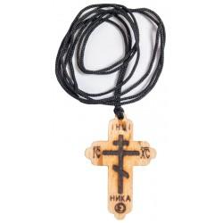 Нательный деревянный крест без распятия на шнурке