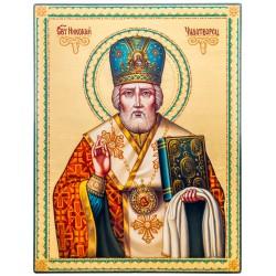 Писаная икона на дереве Святой Николай Чудотворец 23х30 см