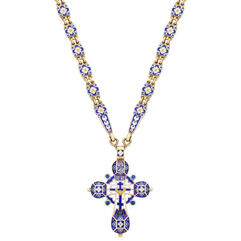 Крест эмалевый праздничный (в комплекте с цепочкой) КС034