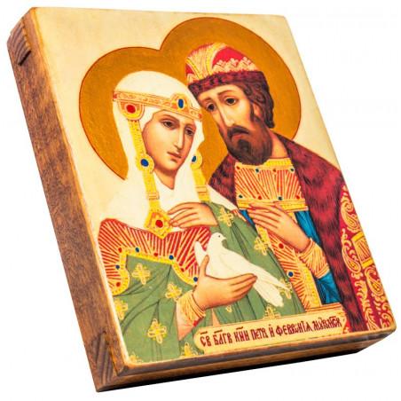 Икона Святые Петр и Феврония Муромские 11х13 см