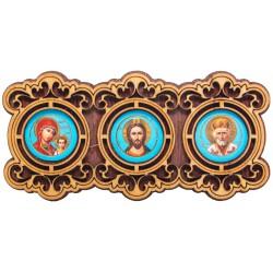 Автомобильная икона «Тройник» 10х5 см