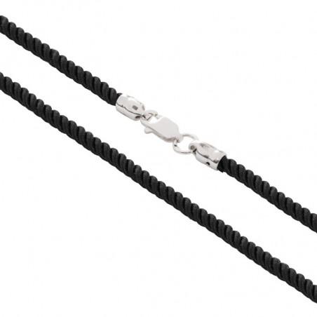 Шелковый шнурок для крестика с серебряным замком 6010/3