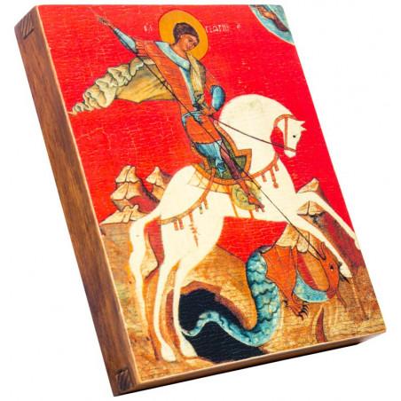 Икона Святой Георгий Победоносец на красном фоне 15х18 см