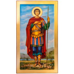 Писаная икона Святой Георгий Победоносец 40х80 см