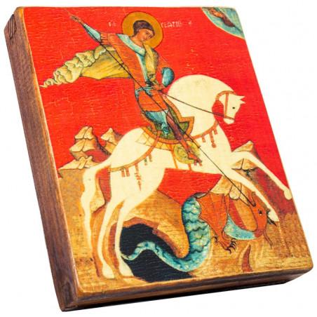 Икона Святой Георгий Победоносец на красном фоне 11х13 см