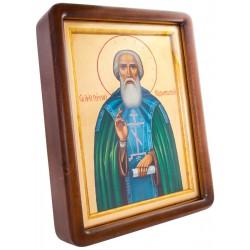 Писаная икона Святой Сергий Радонежский в киоте 31х36 см