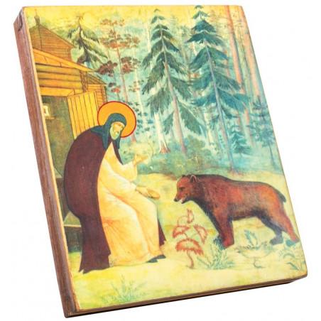Икона Святой преподобный Сергий Радонежский с медведем15х18 см